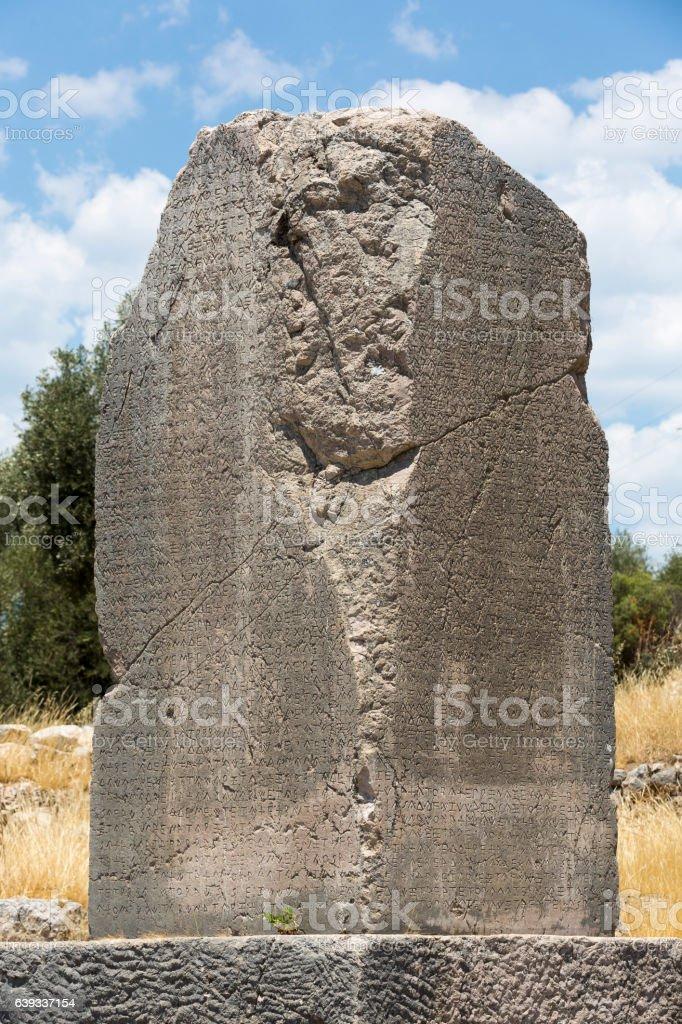 Inscribed Pillar in Xanthos Ancient City, Antalya stock photo