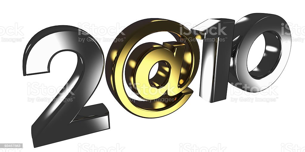 Inscription 2010, where instead of zero used the @ sign. royalty-free stock photo