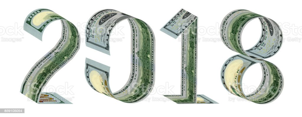 Inscription 2018 made of one hundred dollar banknotes 3D rendering stock photo