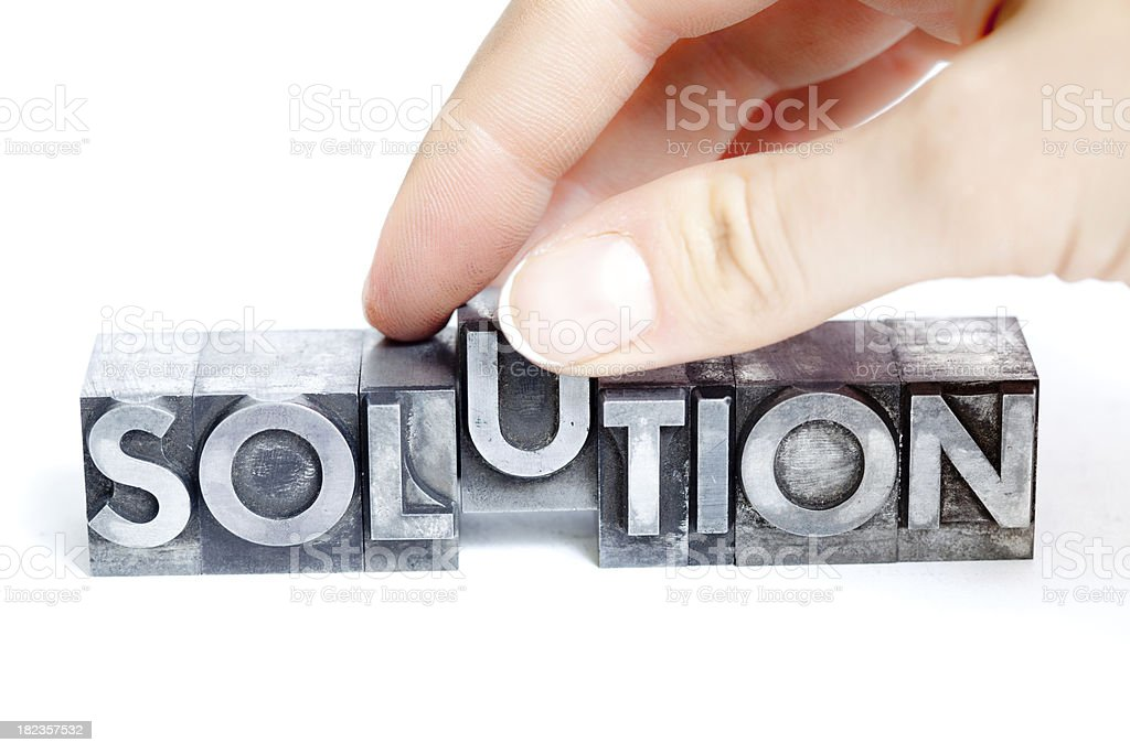 SOLUTION inscription, block letters stock photo