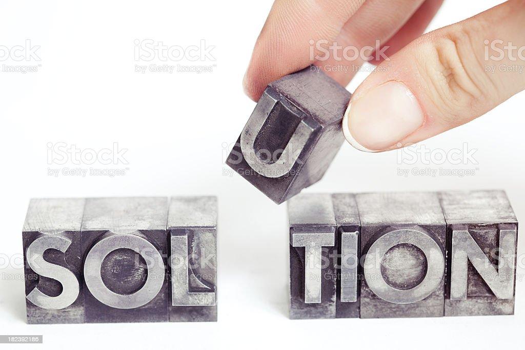 SOLUTION inscription, block letters XXL stock photo