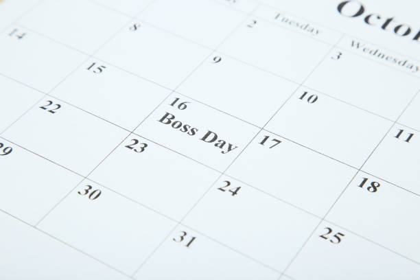 Inscription Boss Day in calendar Inscription Boss Day in calendar boss's day stock pictures, royalty-free photos & images