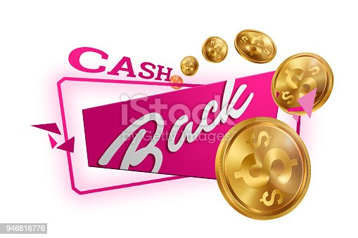 istock Inscription Cash Back, emblem image and gold coins on white background, isolate. Business concept, money back, finances, customer focus. White, pink, gold color. Illustration, 3d. 946816776