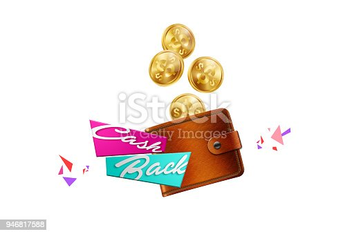 istock Inscription Cash Back, emblem image and gold coins on white background, isolate. Business concept, money back, finances, customer focus. White, pink, gold color. Illustration, 3d. 946817588