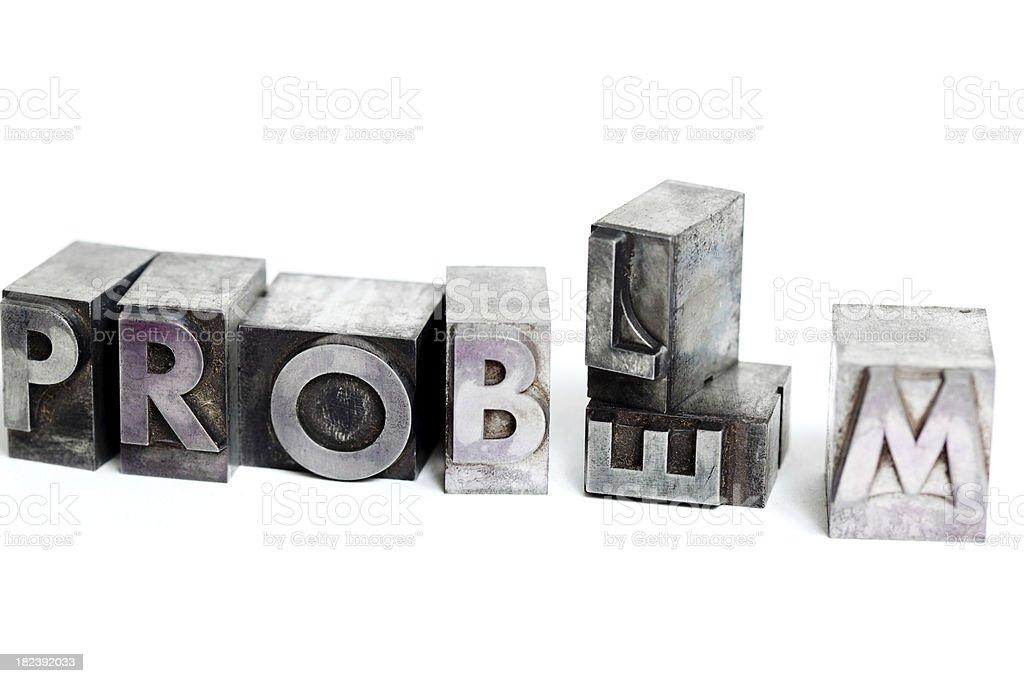 PROBLEM inscription close-up, block letters royalty-free stock photo