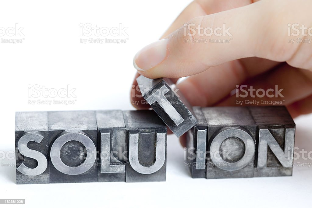 SOLUTION inscription close-up, typescript fonts royalty-free stock photo