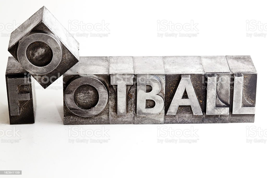 FOOTBALL inscription close-up, typescript fonts royalty-free stock photo