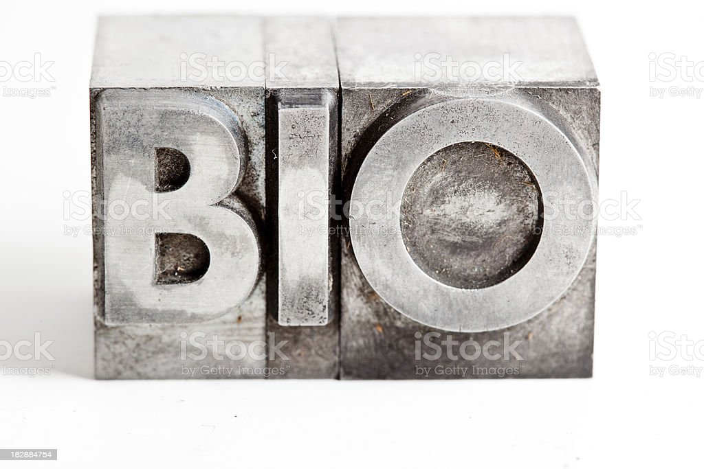 BIO inscription close-up, typescript fonts royalty-free stock photo