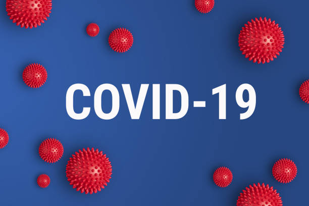 inscription covid-19 on blue background with red strain model of coronavirus - covid 19 stock pictures, royalty-free photos & images
