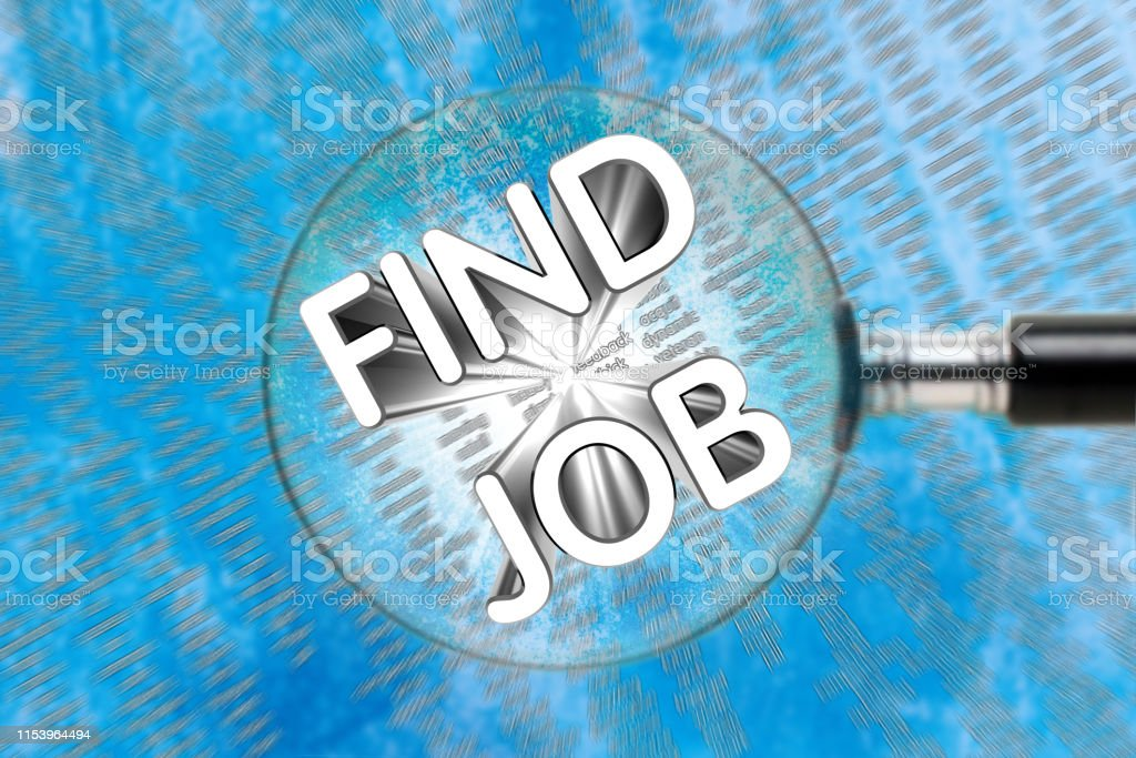 Inscription FIND JOB through a magnifying glass on an abstract...