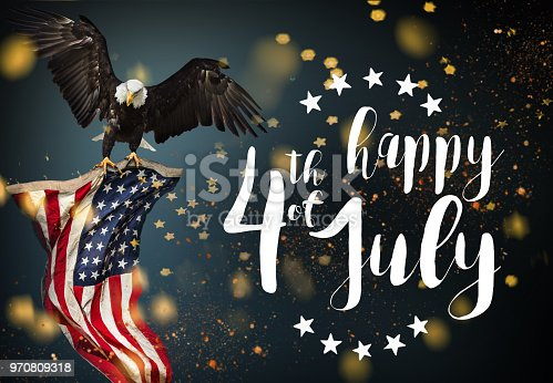 istock Inscription Happy 4th of July with USA flag 970809318