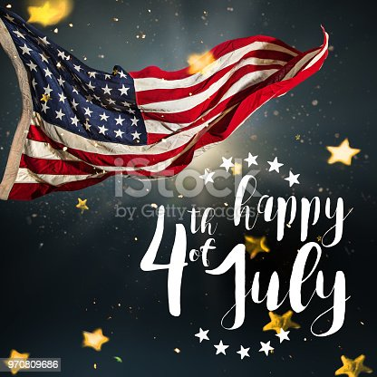 970809318 istock photo Inscription Happy 4th of July with USA flag 970809686