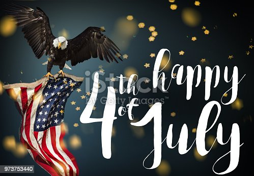 istock Inscription Happy 4th of July with USA flag 973753440