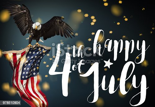 970809318 istock photo Inscription Happy 4th of July with USA flag 978510904