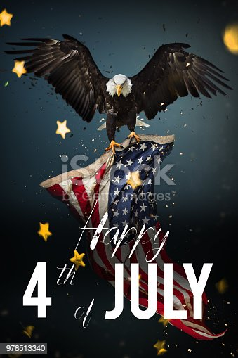 970809318 istock photo Inscription Happy 4th of July with USA flag 978513340