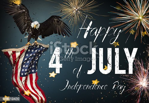 970809318 istock photo Inscription Happy 4th of July with USA flag 978513420