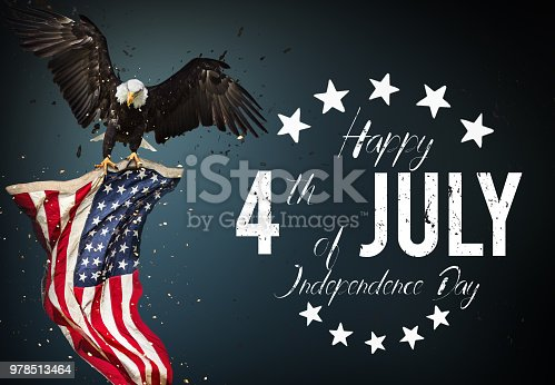 970809318 istock photo Inscription Happy 4th of July with USA flag 978513464