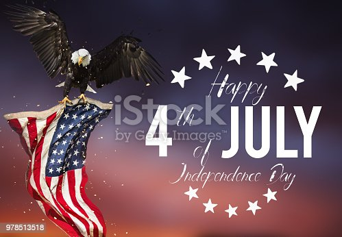 970809318 istock photo Inscription Happy 4th of July with USA flag 978513518