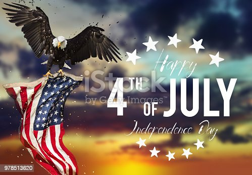 970809318 istock photo Inscription Happy 4th of July with USA flag 978513620