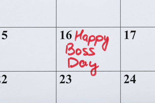 Inscription Happy Boss Day in calendar Inscription Happy Boss Day in calendar boss's day stock pictures, royalty-free photos & images