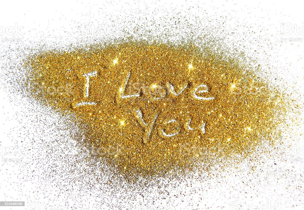 Inscription I Love You on golden glitter sparkle on white stock photo