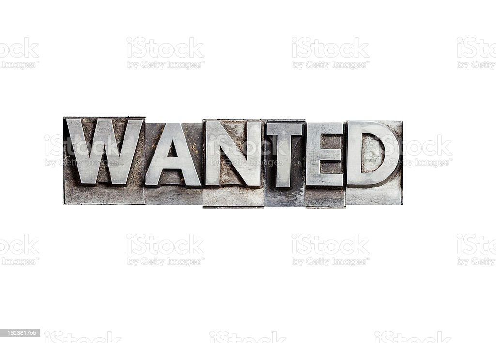 WANTED inscription in block letters (lead) royalty-free stock photo