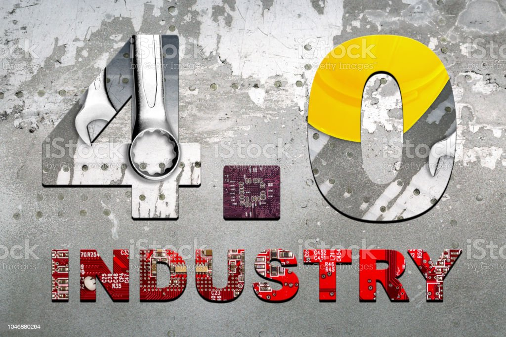 Inscription. Industry 4.0 double exposure. Concept of modern industry. stock photo