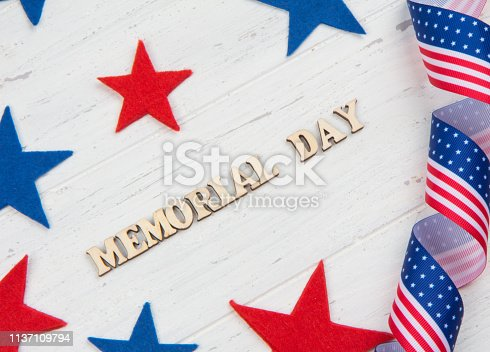 971061452istockphoto Inscription Memorial Day, red and blue stars on white wooden background 1137109794