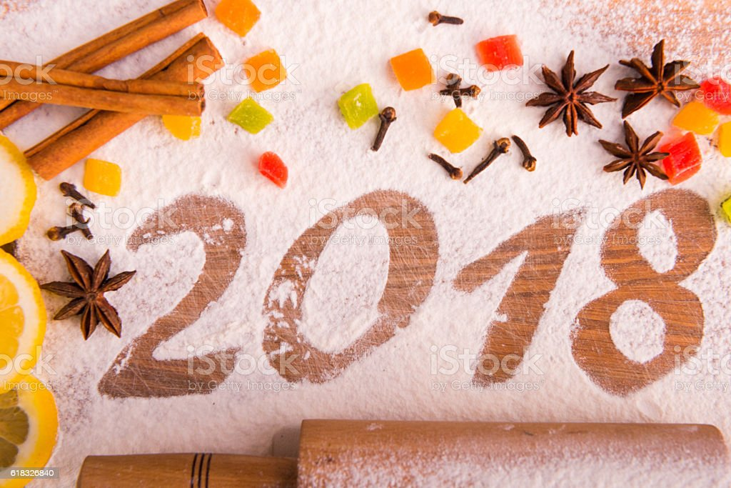 2017 inscription of flour on wooden Board stock photo