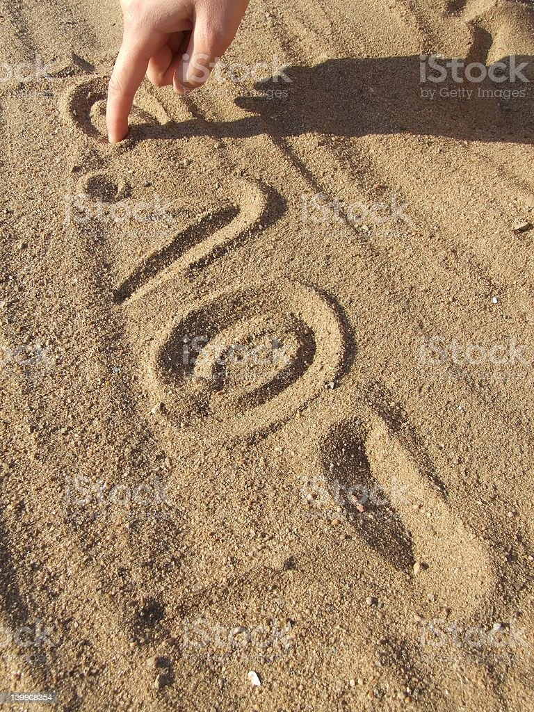 Inscription on sand 2 royalty-free stock photo