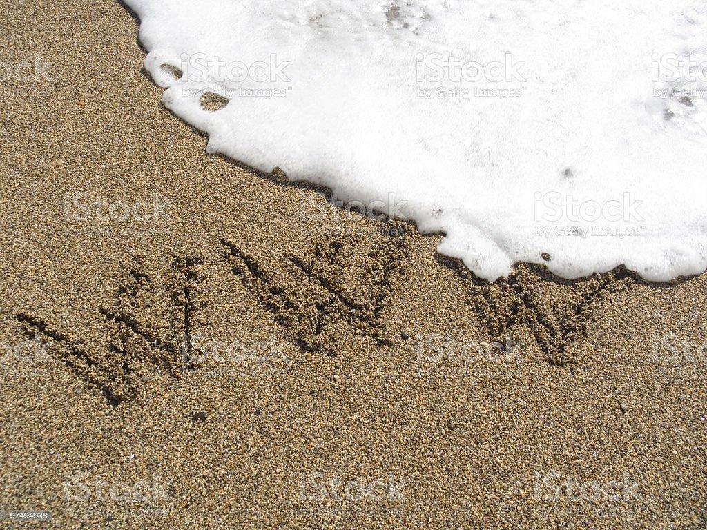 Inscription on sea sand WWW royalty-free stock photo