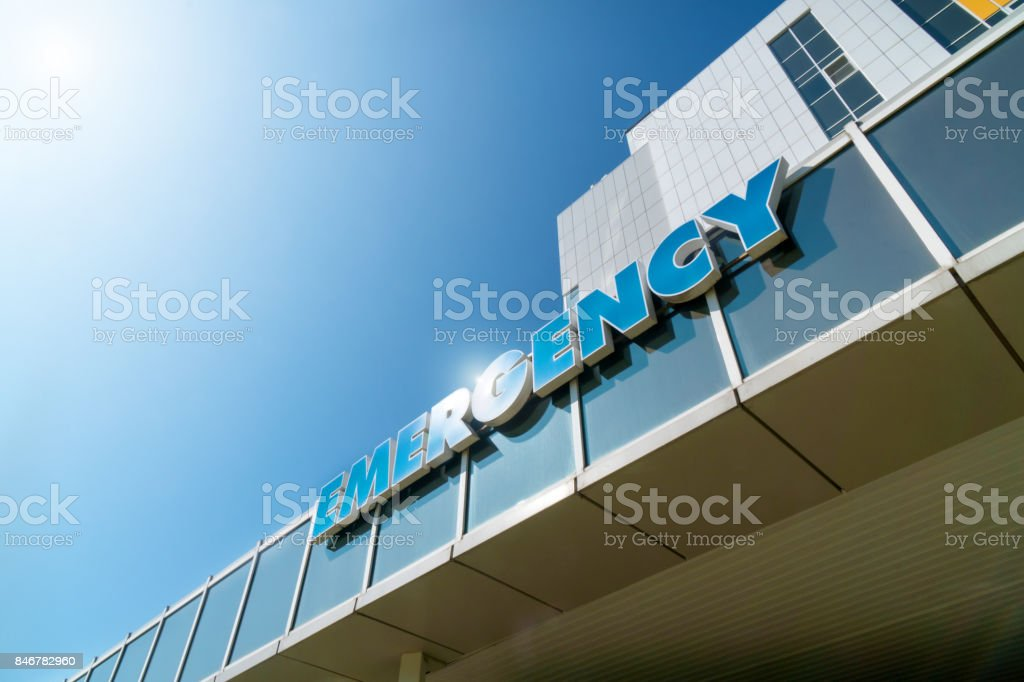 inscription on the building of the hospital stock photo