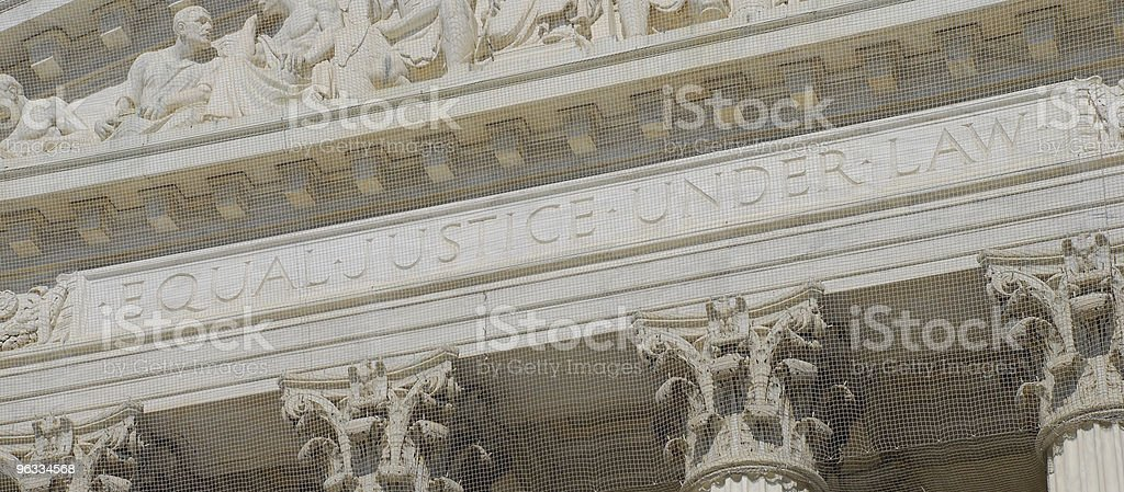 Inscription on US Supreme Court in Washington DC stock photo