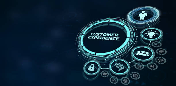 CUSTOMER EXPERIENCE inscription, social networking concept. Business, Technology, Internet and network concept. stock photo