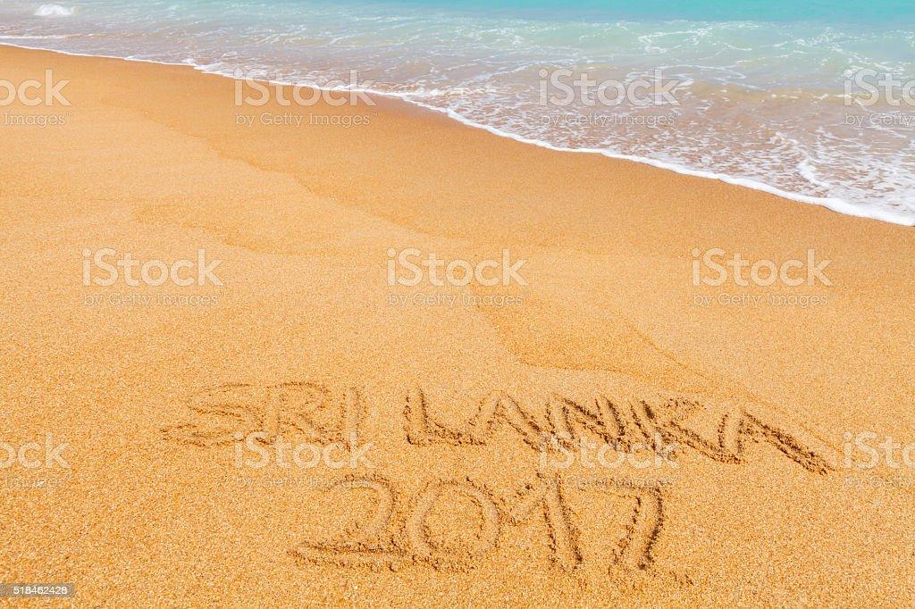 Inscription 'Sri Lanka 2017' made on beautiful beach stock photo