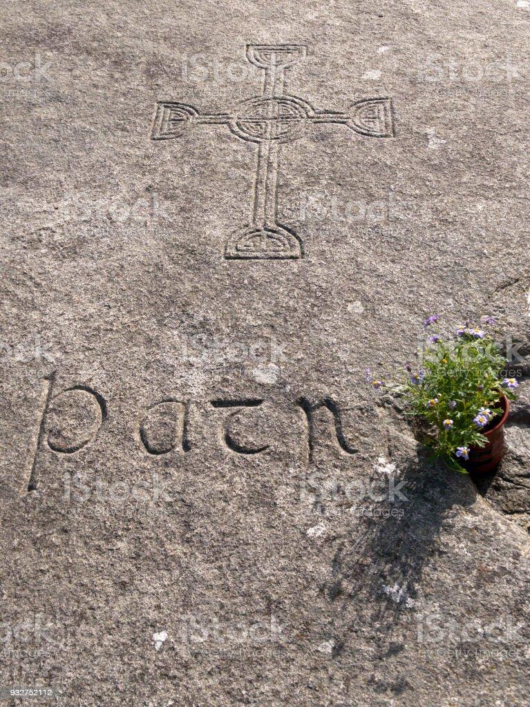 Inscription, St Patrick Grave stock photo