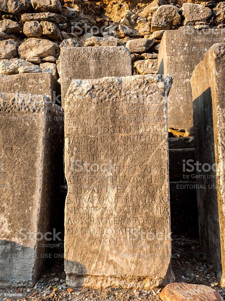 Inscription stone in Ephesus. stock photo