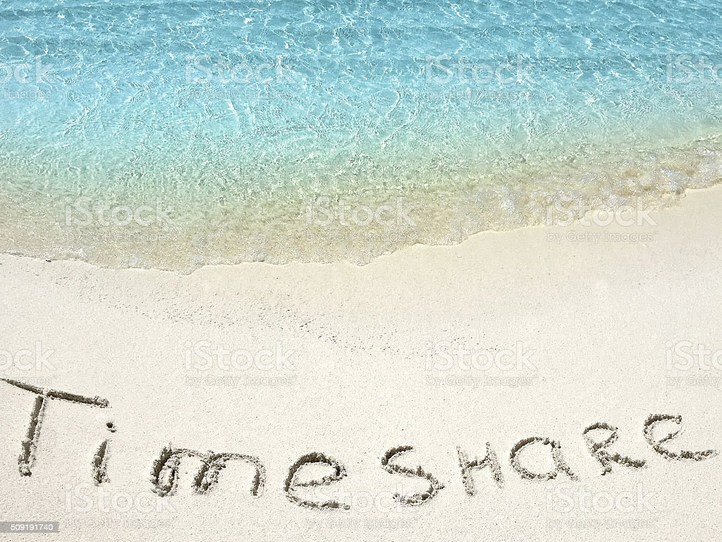 Inscription Timeshare In The Sand On A Tropical Island Maldi Stock