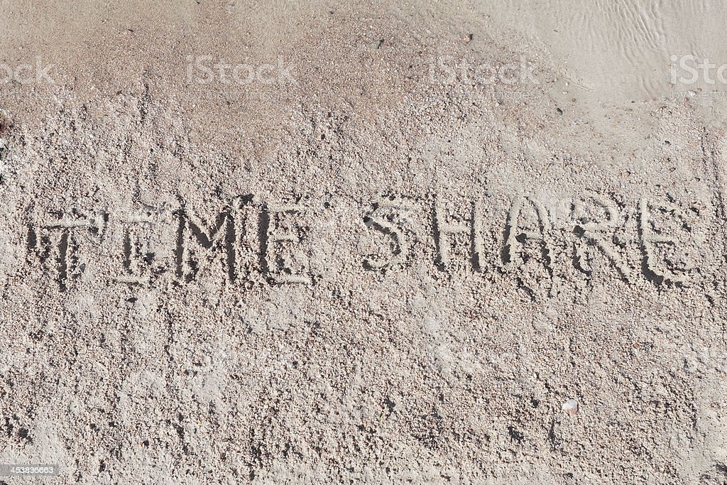 Inscription 'TimeShare' on a sand. royalty-free stock photo