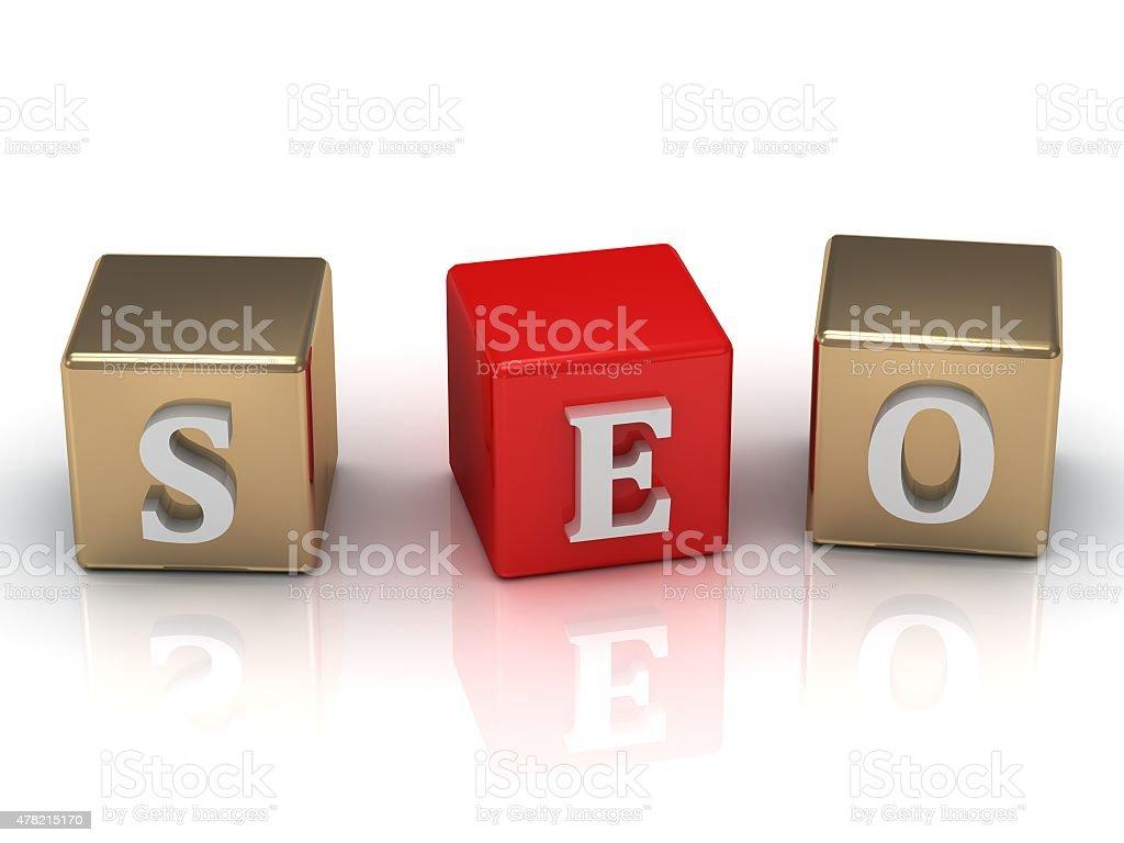 SEO inscription white letters stock photo