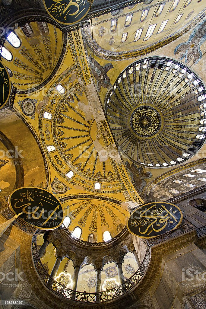 Insde of Hagia Sophia Mosque in Istanbul - vertical position royalty-free stock photo