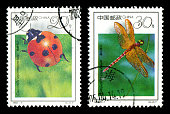 China postage stamp: Insects series (1): ladybug and dragonfly.