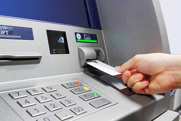 ATM insert card stock photo