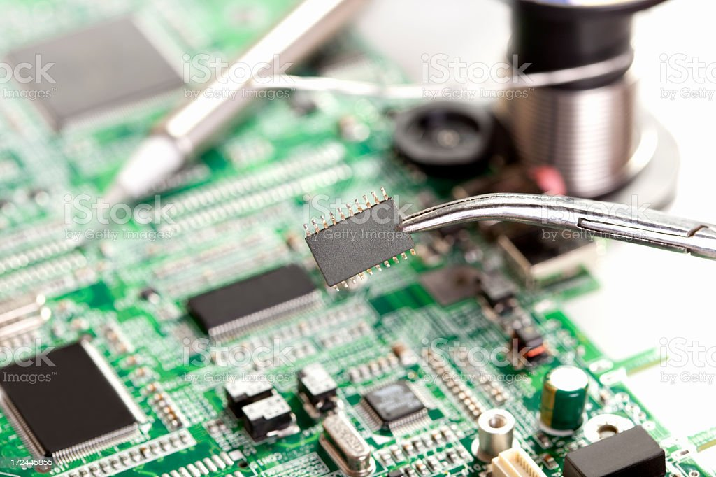 Inserting a microchip stock photo