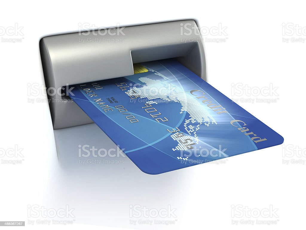 Inserting credit card into ATM stock photo