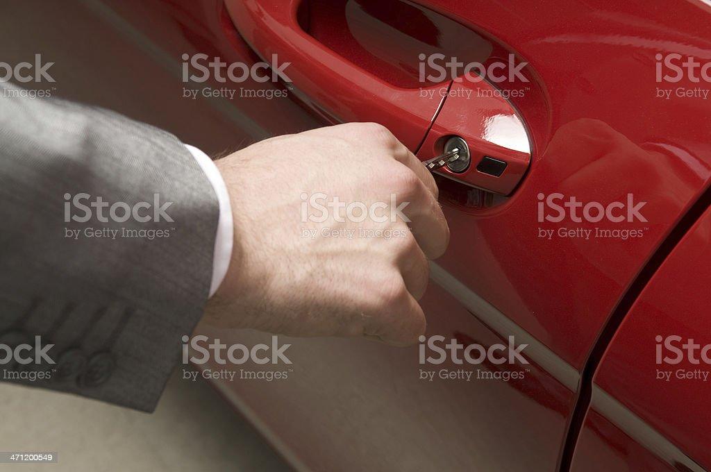 Inserting the car key royalty-free stock photo