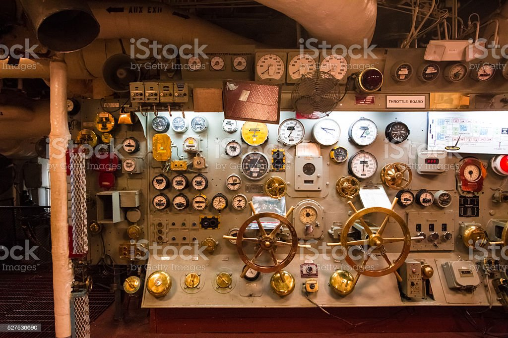 Inside a battle ship main engine room stock photo
