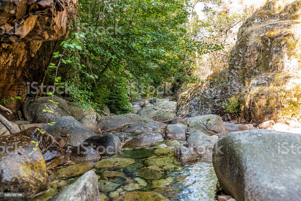 Inside a canyon in the mountains in Corsica - 1 Стоковые фото Стоковая фотография