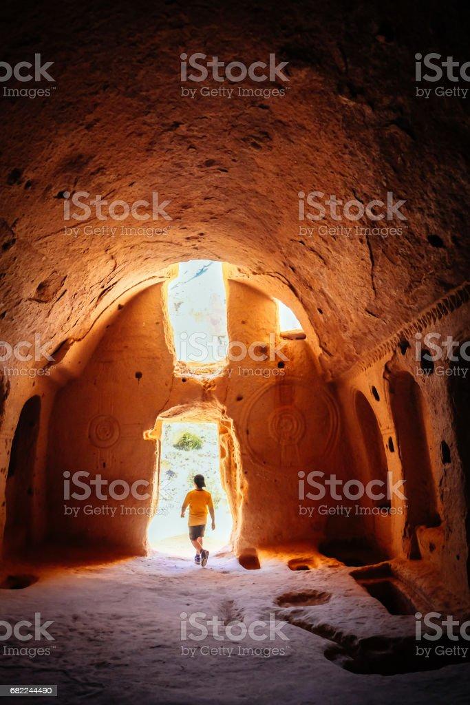 Inside a cave church stock photo