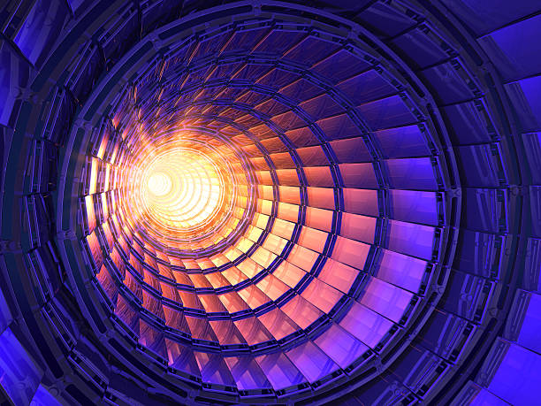 Inside a collider with a bright light at the end Inside the collider or tunnel large hadron collider stock pictures, royalty-free photos & images